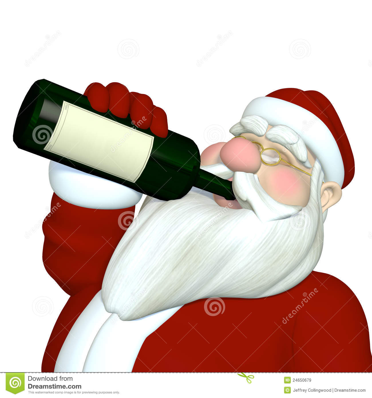 Santa Tipping Back A Bottle Of Wine Blank Label For Your Text And Logo