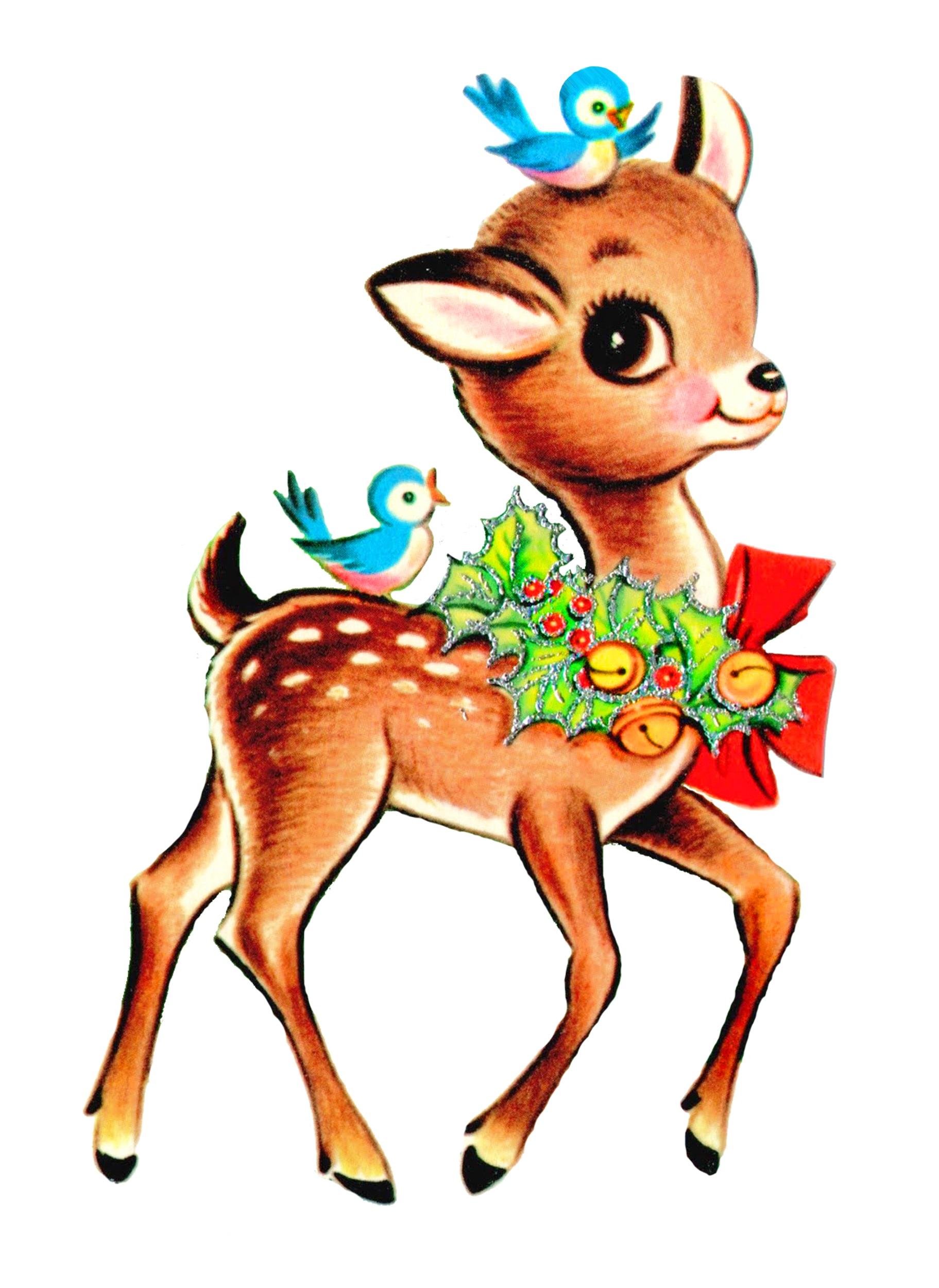 Vintage Christmas Reindeer Clipart - Clipart Suggest