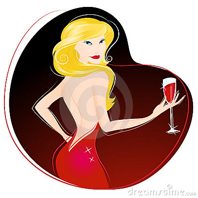 Woman Drinking Wine Vector Stock Photos   Image  10742693
