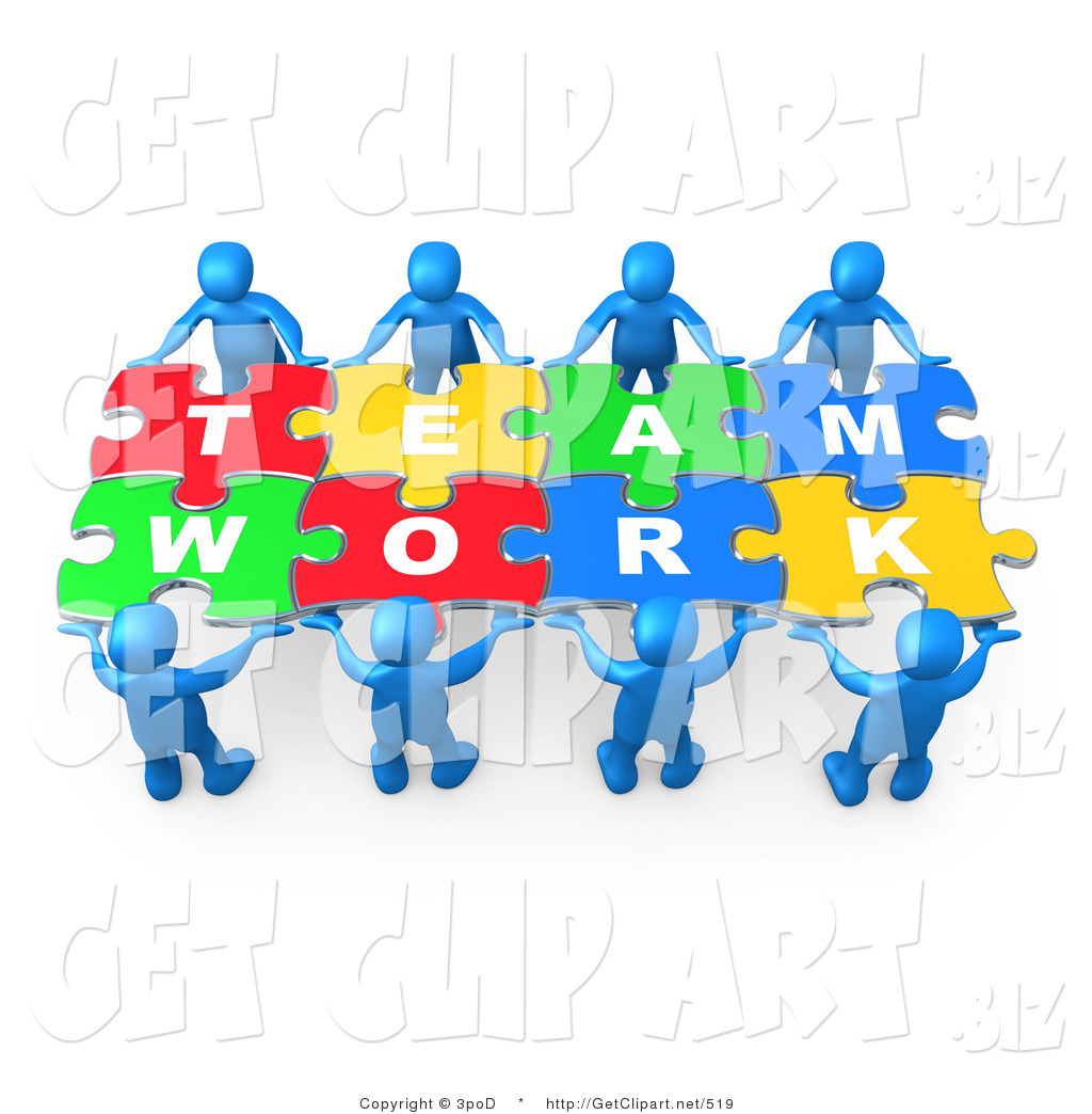 3d Clip Art Of Eight Blue 3d People Working Together To Hold Colorful