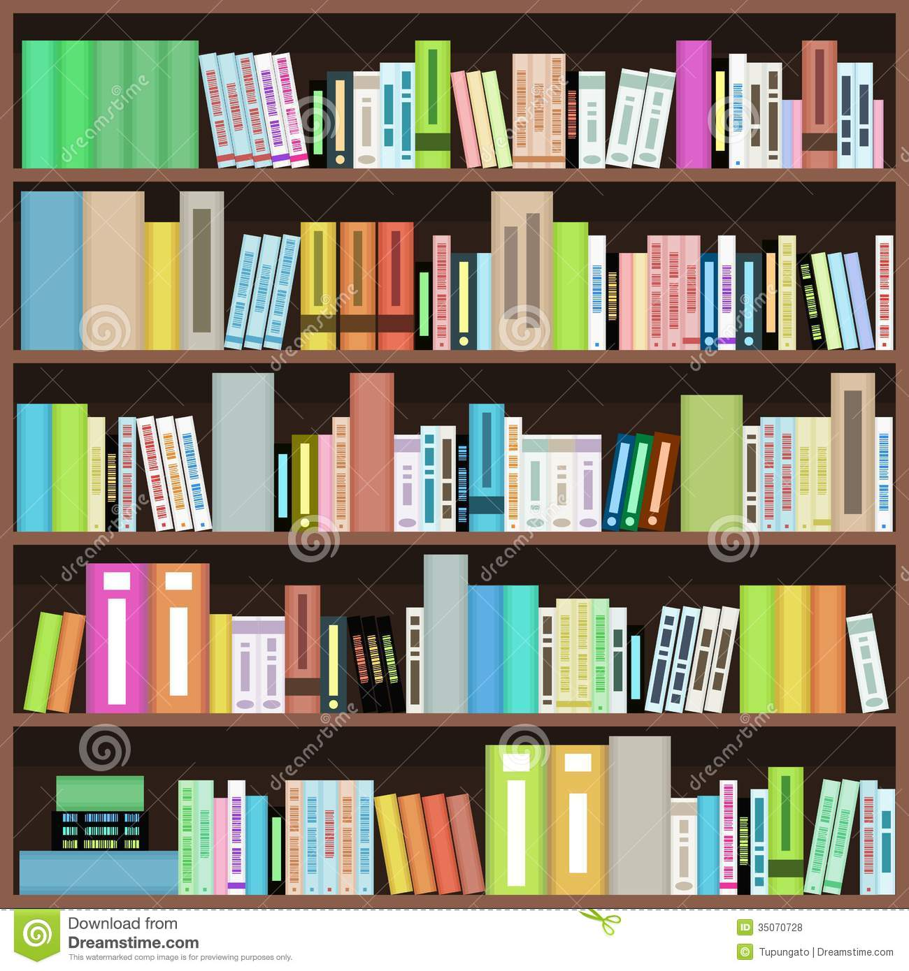 Colorful Book Room: Bookcase Clipart