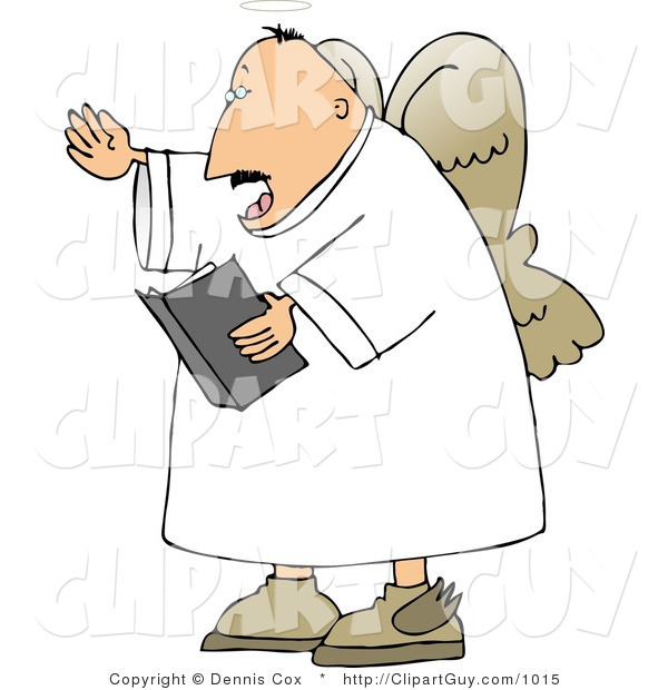 Clip Art Of A Male Angel Reading From The Good Book By Djart    1015
