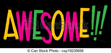 Clipart Vector Of Awesome Text   Cartoon Text Of The Word Awesome