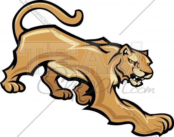 Cougar Mascot Animal Body Vector Clipart Image