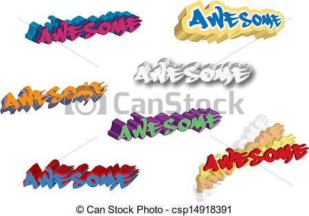 Eps Vectors Of Awesome Clipart Csp14918391   Search Clip Art