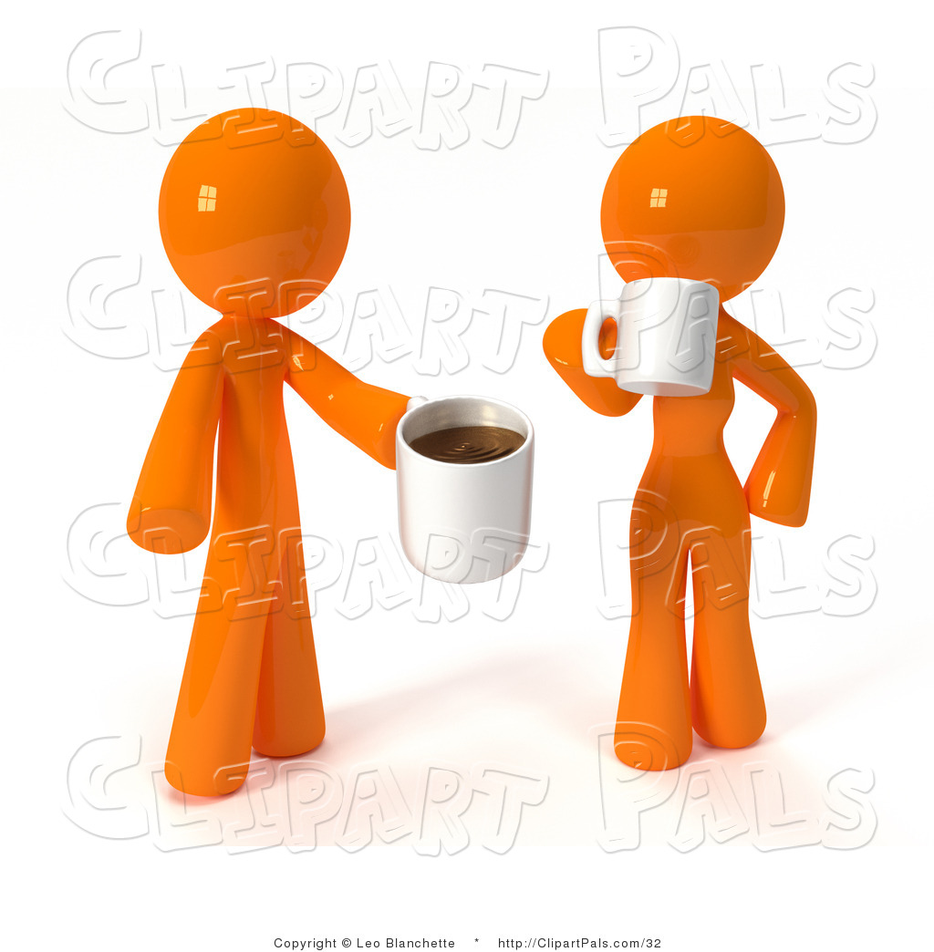 Larger Preview  Pal Clipart Of A 3d Orange Couple Drinking Coffee By