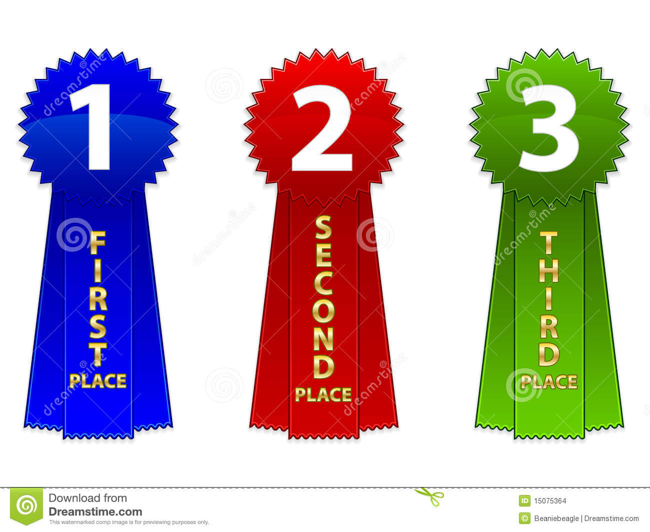 Of A First Second And Third Place Event Ribbons  Available In Eps