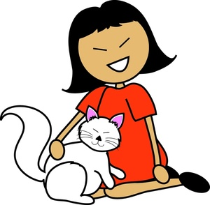 Clip Art Pet Clipart girl with pet clipart kid image cartoon asian a white cat on her lap