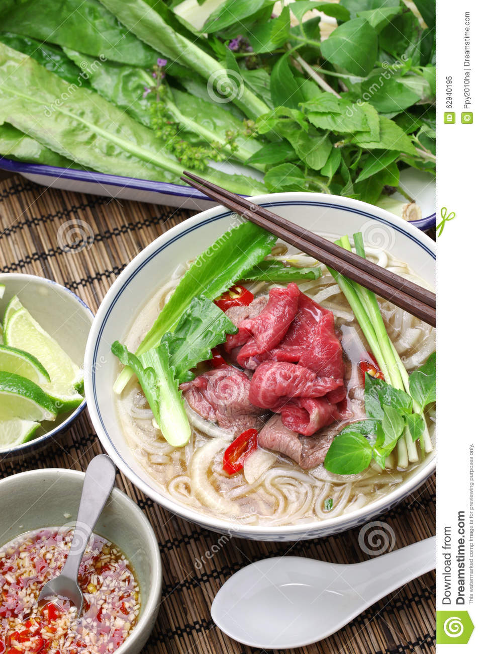 Pho Bo Vietnamese Beef Rice Noodle Soup Stock Photo   Image  62940195