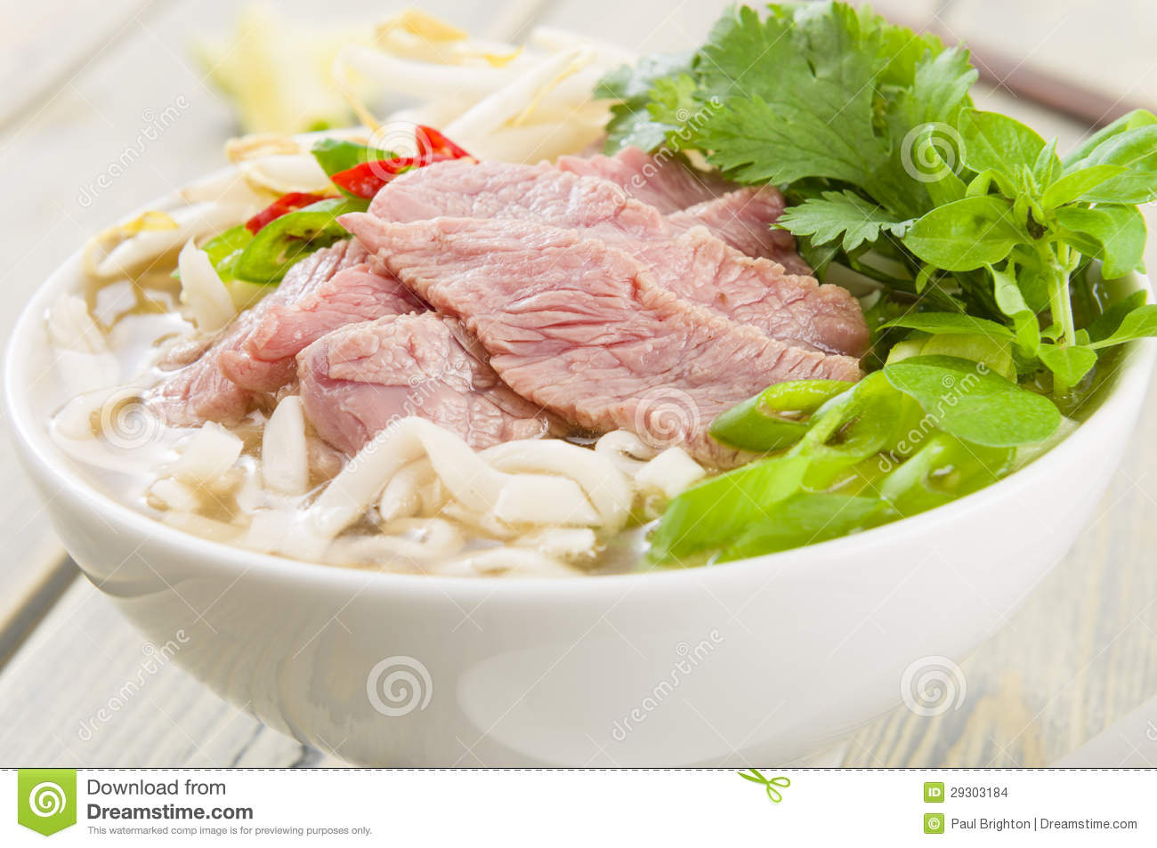 Pho Bo   Vietnamese Fresh Rice Noodle Soup With Beef Herbs And Chili