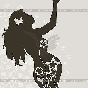 Pregnant Girl   Color Vector Clipart