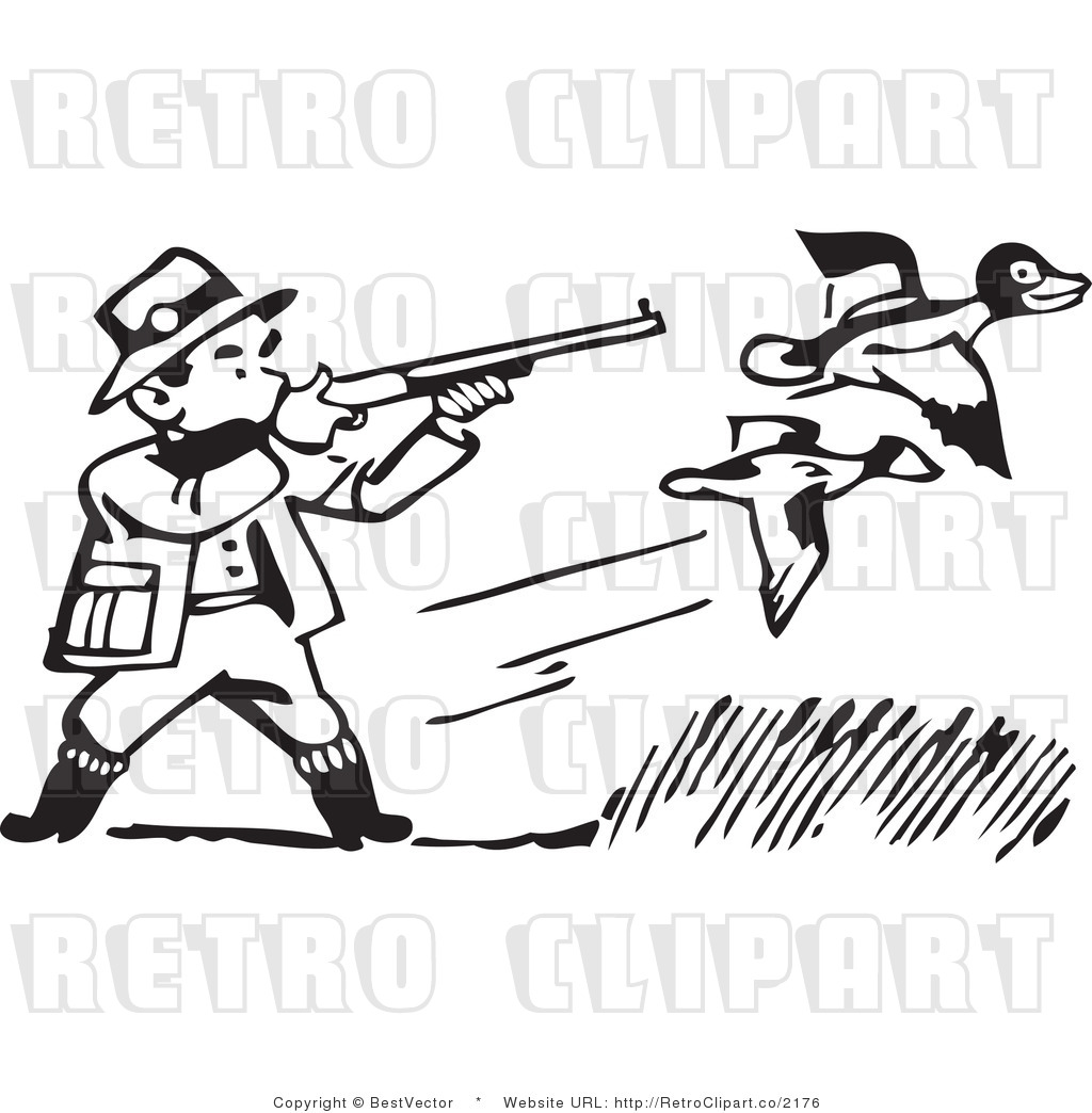 Royalty Free Black And White Retro Vector Clip Art Of A Hunting Rifle