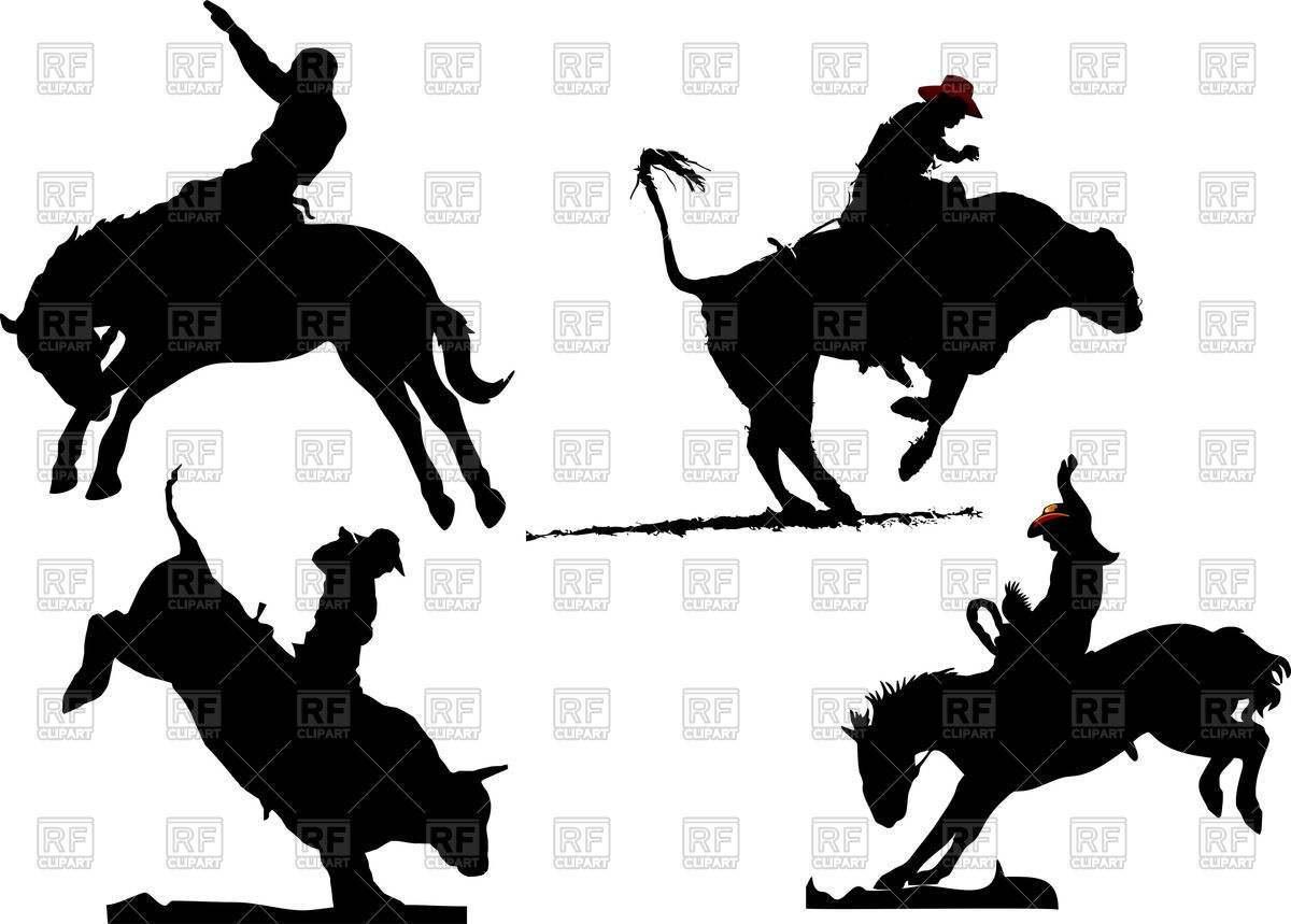 Silhouettes Of Rodeo On Horses And Bulls 53456 Silhouettes Outlines