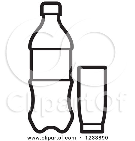 Soda Cup Clipart 1233890 Clipart Of A Black And White Soda Bottle And