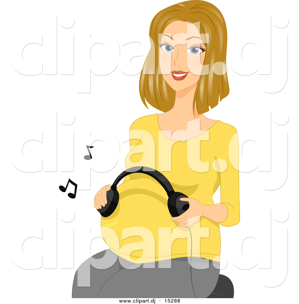 Vector Clipart Of A Cartoon Pregnant Girl Using Headphones To Play