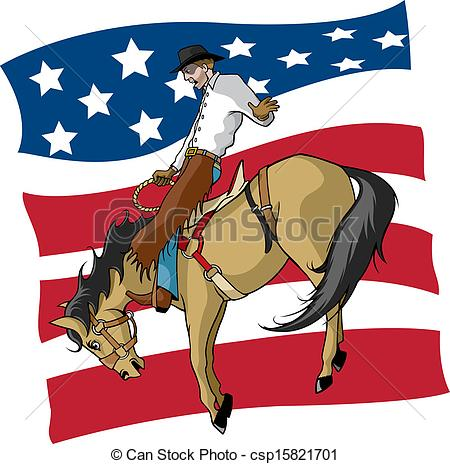 Vector Clipart Of Saddle Bronc Rider   Illustrated Saddle Bronc Rider