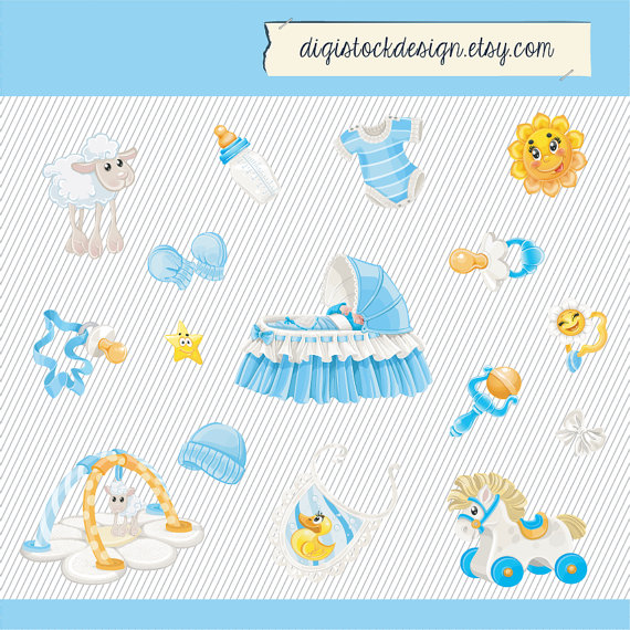 Baby Clipart  Baby Boy Clipart  Baby Things Digital Images  Newborn