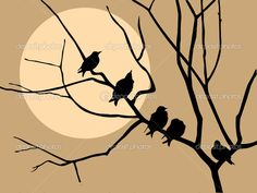 Bare Tree Silhouette Clip Art   Illustration Migrating Starling On