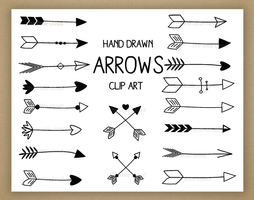 Black Hand Drawn Arrows Clipart A Set Of 18 By Thelittleclouddd