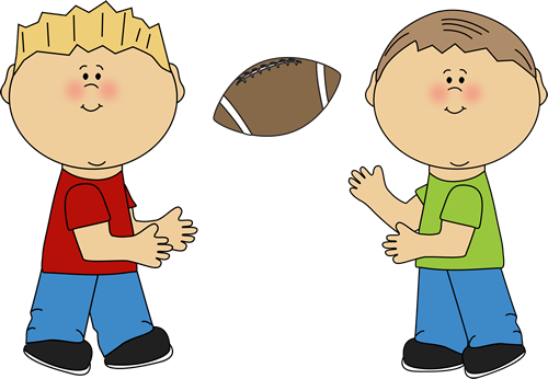 Boys Throwing A Football Clip Art Image   Two Little Boys Throwing A