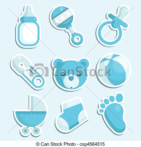 Clipart Vector Of Baby Boy Icons   Set Of Blue Baby Boy Icons