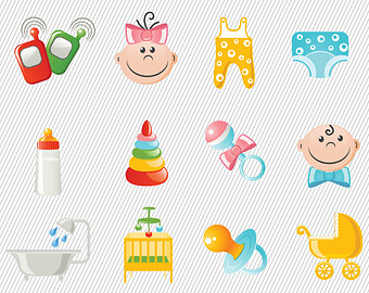 Cute Baby Accessories Illustration Baby Clipart Baby Things Digital