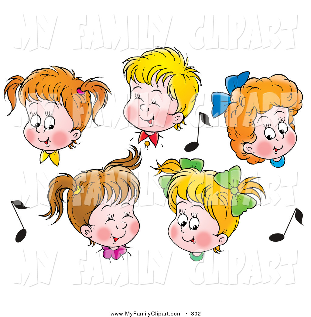 Group Of 5 Boys And Girls In Choir Singing Surrounded By Music Notes