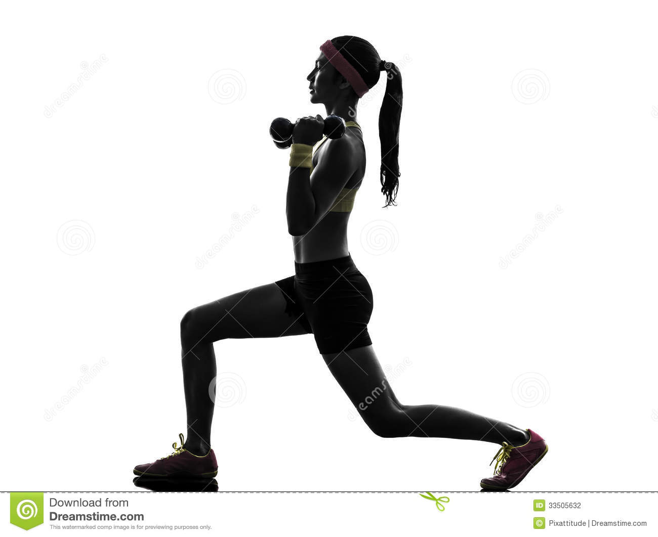 One Woman Exercising Fitness Workout Lunges Crouching Weight Training