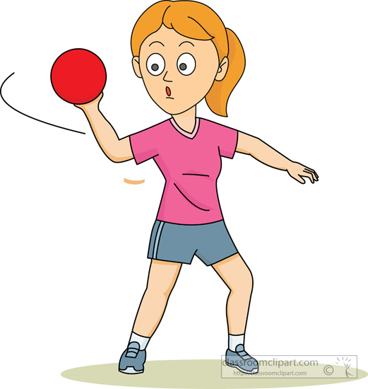 Recreation   Girl Throwing A Dodge Ball   Classroom Clipart