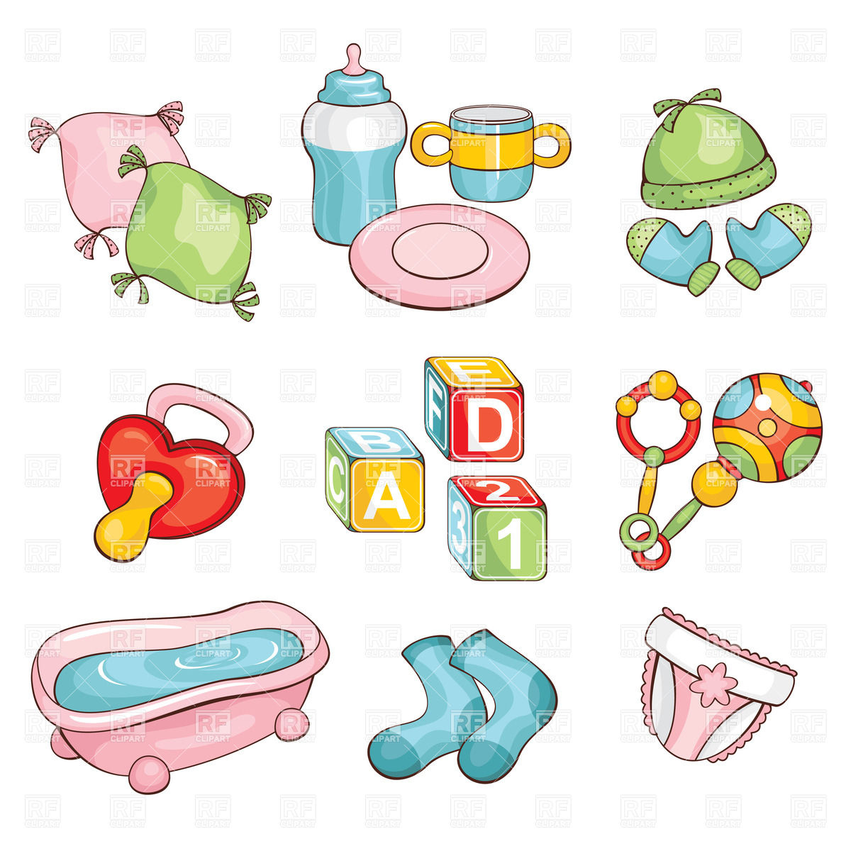 Set Of Cartoon Baby Things  Diapers Pacifier Rattle Bath Etc