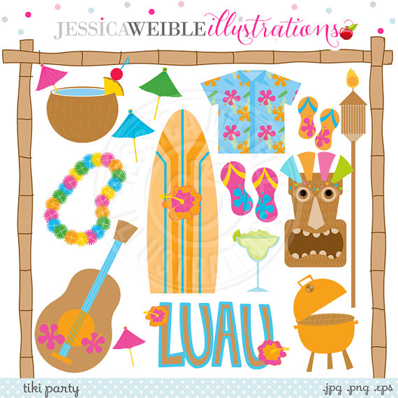 Tiki Party Cute Digital Clipart   Commercial Use Ok   Luau Graphics