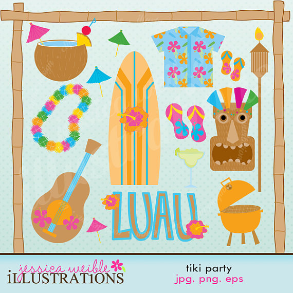 Tiki Party Cute Digital Clipart For Card Design Scrapbooking And Web