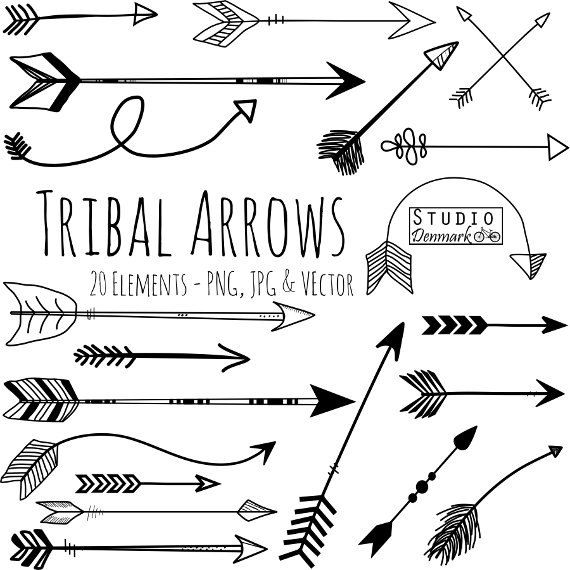Tribal Arrows Hand Drawn Aztec Doodle Vectors Hand Arrow Clipart