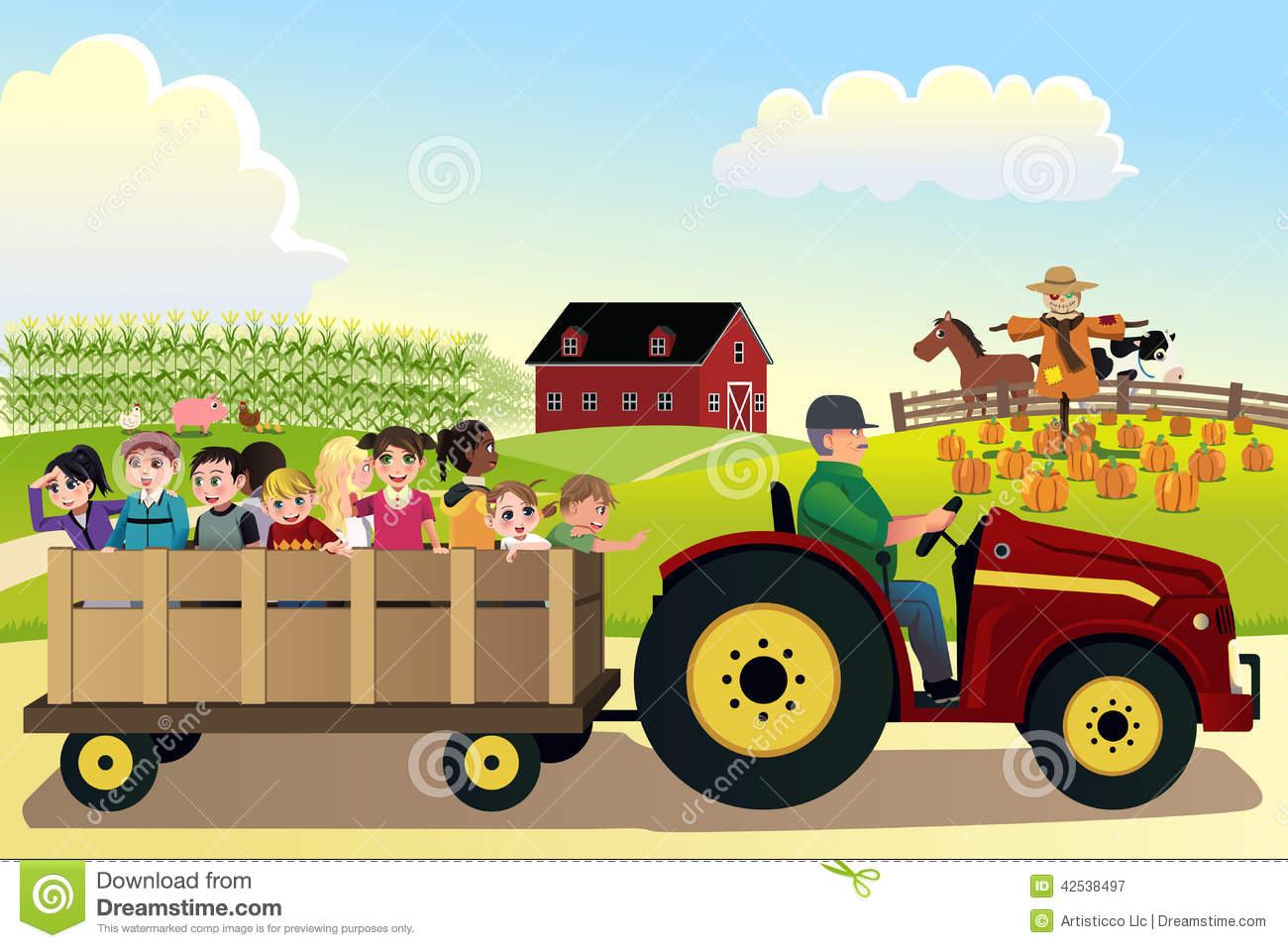Vector Illustration Of Kids Going On A Hayride In A Farm With Corn