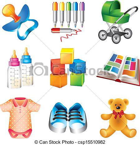 Vector Of Baby Toys And Things Icons Set   Cute Baby Toys And Things