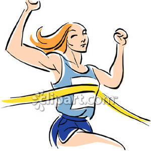 Win Clipart Female Runner Winning The Race Royalty Free Clipart