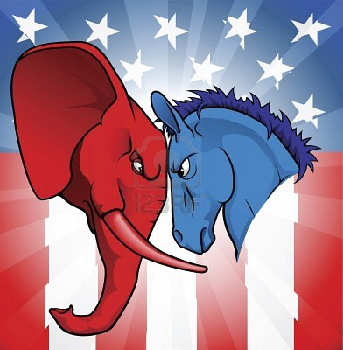 9326220 The Democrat And Republican Symbols Of A Donkey And Elephant