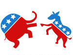And Republican Symbols Of A Donkey And Elephant Facing Off