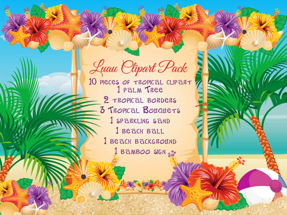 Beach Luau Clipart Pack By Bellasscrapsnclips On Etsy