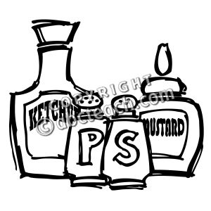 Clip Art  Condiments  Coloring Page    Preview 1