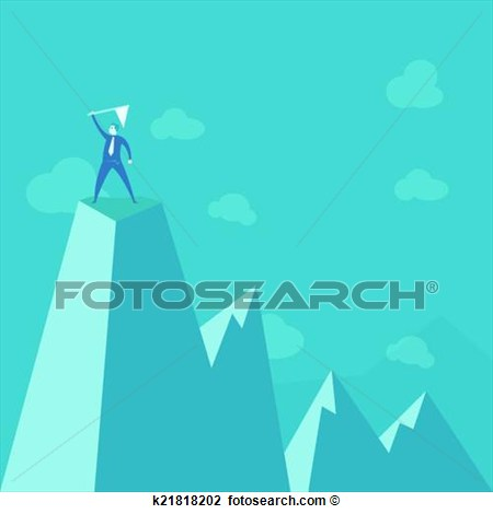 Clipart   Businessman Standing On Peak Mountain  Fotosearch   Search