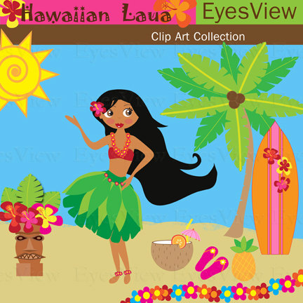 Clipart Hawaiian Luau Clip Art Instant Download By Inkandwhimsy2