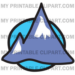 Clipart Illustration Of Two Pointy Mountain Peaks Over A Blue Circle
