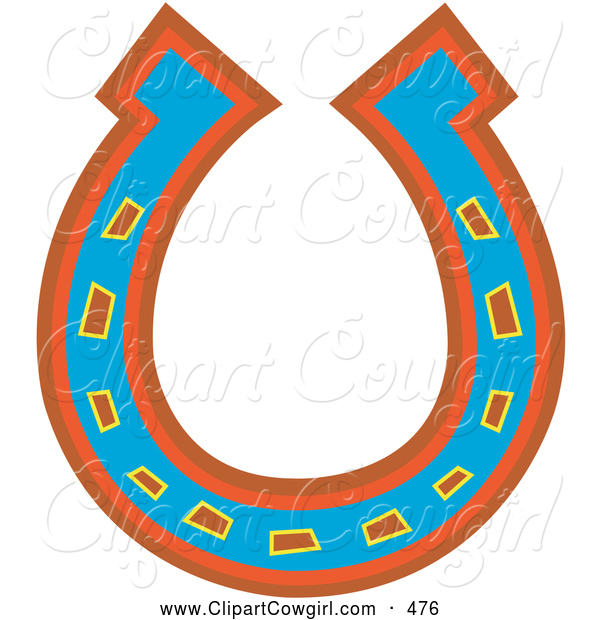 Clipart Of An Upside Down Lucky Blue Red And Orange Horseshoe By Andy