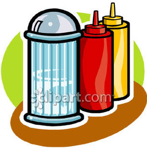 Condiments On A Diner Table   Royalty Free Clipart Picture