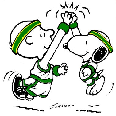 Free Funny Peanuts Sports Clipart  Charlie Brown And Snoopy High Five