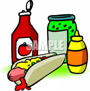 Hot Dog With Condiments   Royalty Free Clipart Picture