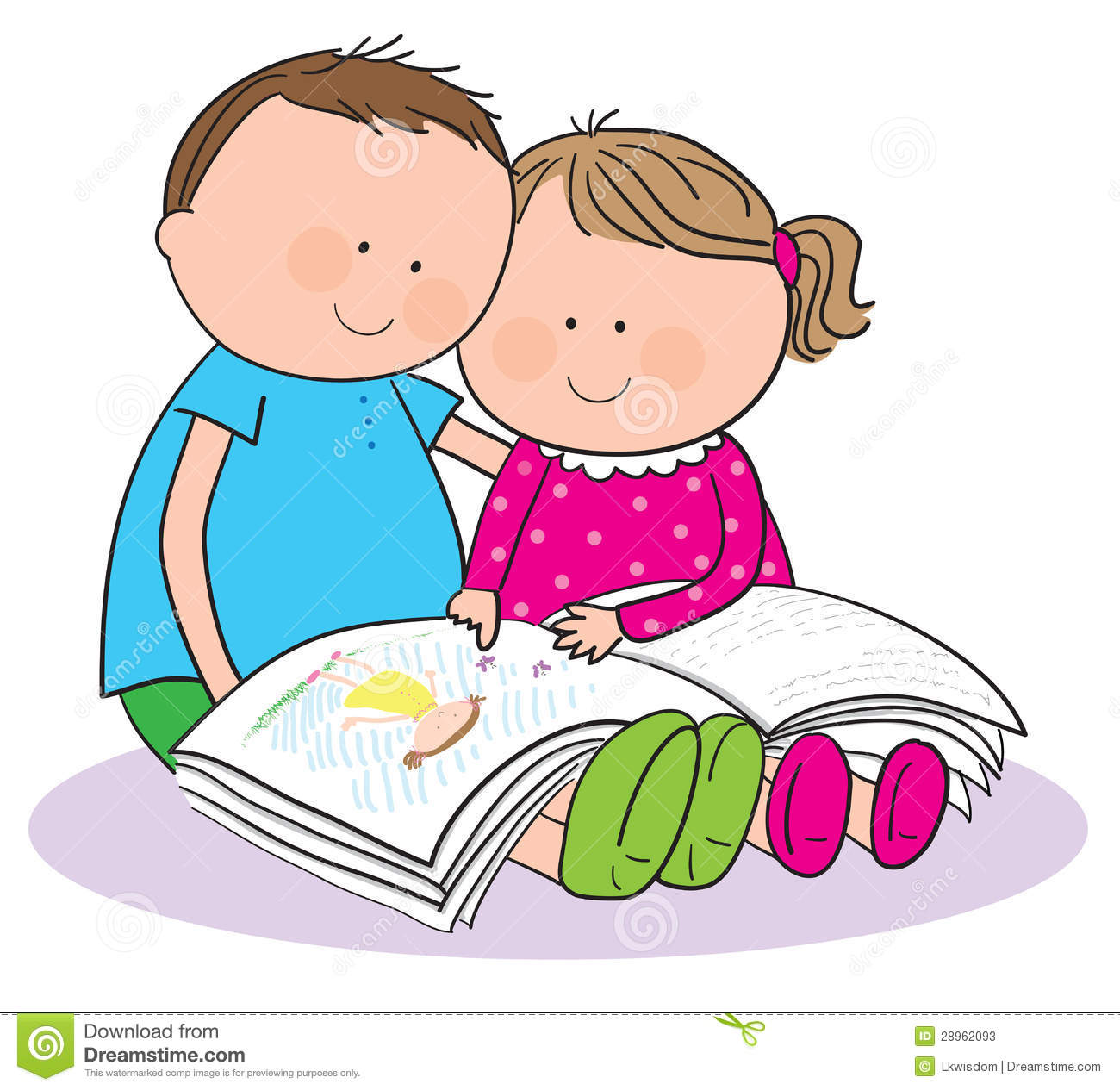 Kids Reading Together Clipart