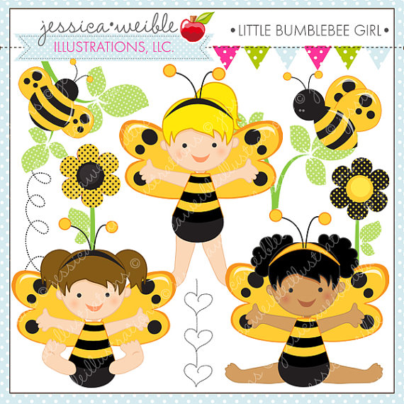 Little Bumble Bee Girl Cute Digital Clipart For Commercial Or Personal
