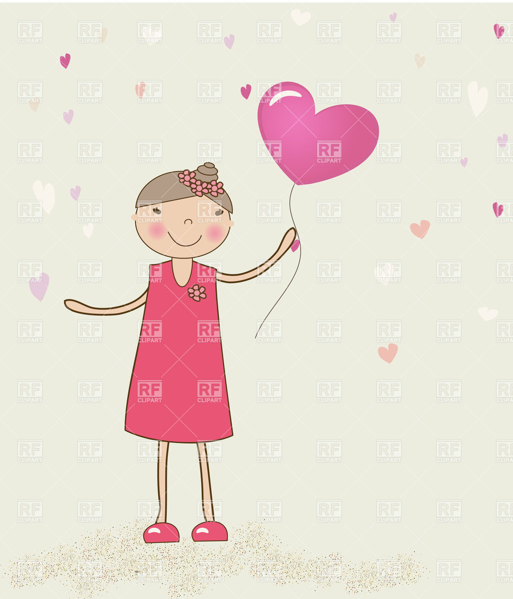 Little Girl Weared Pink Dress With Heart Shaped Balloon In Hand 23792